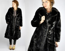 Vintage Streaked Dark Faux Fur Jacket Coat with Pockets Warm Soft Chunky Fluffy Princess Coat size S - M