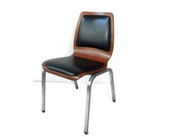 MCM Bent Plywood Chair with Chrome Leg and Black Vinyl Pads Eames Era