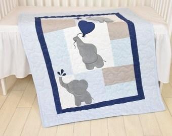 Baby  Boy Quilt,  Elephant Blanket, Blue Gray Navy  Crib Bedding, Safari Nursery