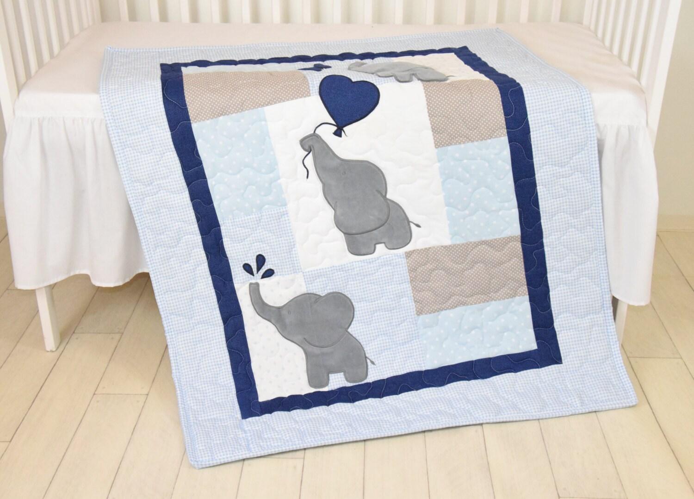 Baby Boy Quilt Elephant Blanket Blue Gray Navy Crib