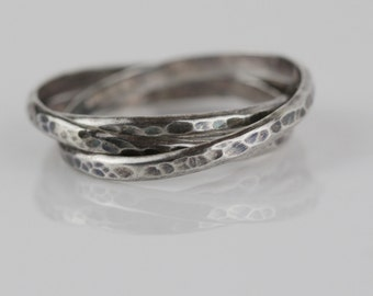 Multi Narrow Band 925 Silver Ladies Ring Hammered Surface UK size Q US 8.25