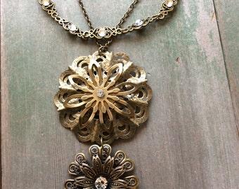 Double Blossom Necklace/Boho/Wedding