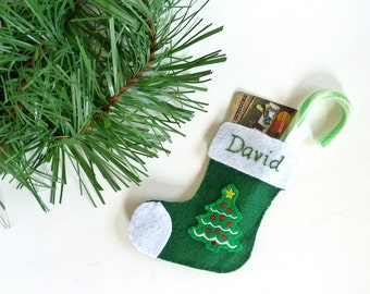 Christmas Stocking Personalized Mini Stocking Gift Card Holder Cash Holder Gift Tag Felt Stocking Ornament Christmas Tree Stocking Gift