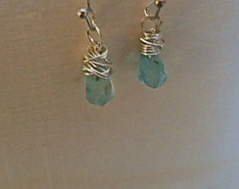Earrings Neon Blue Apatite Twisted Facetted Briolette  Dangle Caribbean Blue Petite Gift