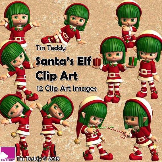 Santa s elf clip art 12 digital images of a cute christmas elf for