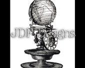 Instant Digital Download, Antique Victorian Graphic, Globe Clock, Printable Image, Steampunk, Scrapbook, Invention, Gears