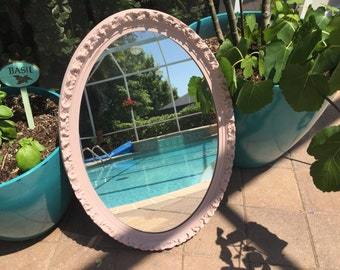 CHOOSE Your OWN COLOR -Vintage Ornate Mirror , distressed, sealed - Shabby Chic - Nursery Mirror - Large Oval Mirror - Pink Mirror - 19 x 27