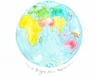 Children's Map Print,  Globe Watercolour, Planet Earth Print,  Planet Illustration, World Map Art Print, Nursery Painting, Art for Children