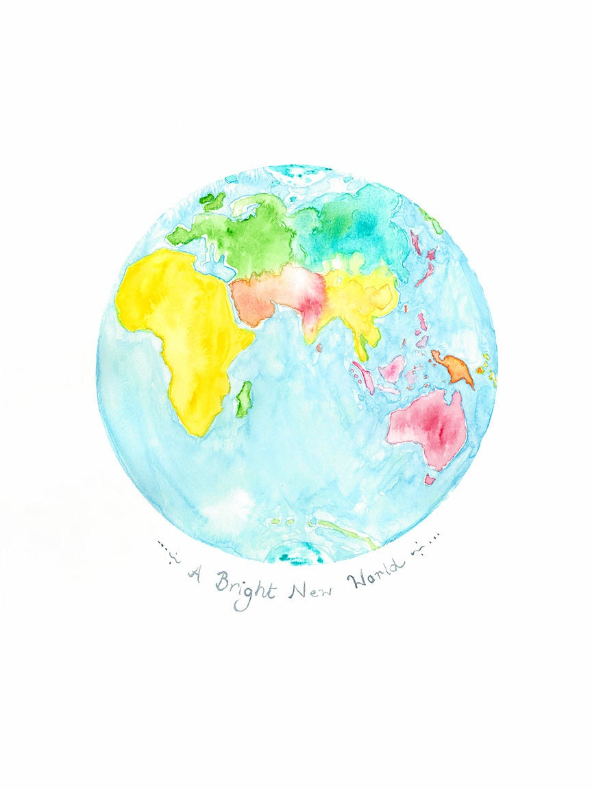 Watercolor Map Etsy - United states watercolor map