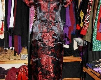 Hong Kong Garden-Black and Red Full Length Silk Brocade Short Sleeved Cheongsam