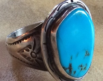 Size 11  1/4 Native American Navajo Turquoise & Sterling Silver