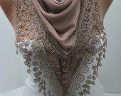 Beige Cotton Triangular Lace Shawl Scarf  Triangle Scarf Beige Lace Scarf  Shawl Fashion Women Accessories New Christmas Gift- DIDUCI