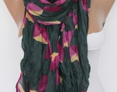 Colorful geometric pattern crinkle Scarf Shawl Gift Ideas For Her Women Fashion Accessories