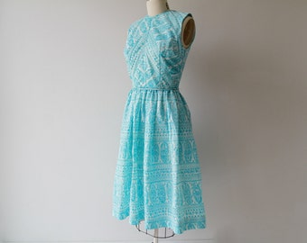 1950s Turquoise Florals Party Dress / Vintage 50s White Paisley Sheath Dress / Small