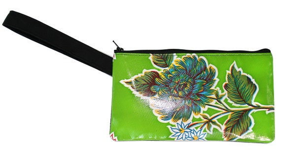 Green, floral oil cloth, wristlet, flat bag, small bag