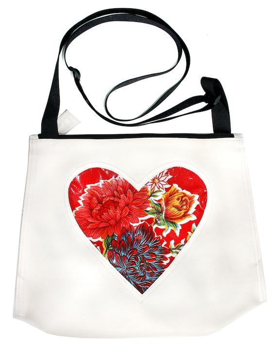 SALE! Oil cloth, heart, white vinyl, vegan, vegan leather, crossbody