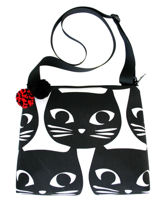 Cats, black cat, black and white, pom poms, cross body, zipper top