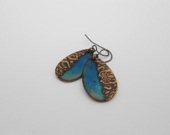 Blue Green Enameled Copper Earrings, Half and Half