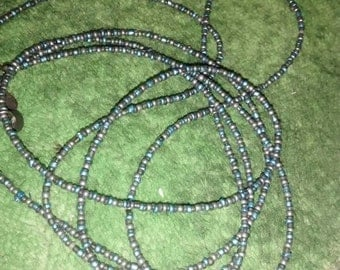 Express Glass Blue Grey Bead Necklace Extra Long