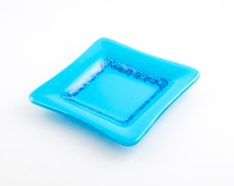 Turquoise Dish, Blue Glass Candy Dish, Turquoise Home Decor, Girls Room, Catch All Tray, Fused Glass Art, Decorative Accents, Cool Gifts