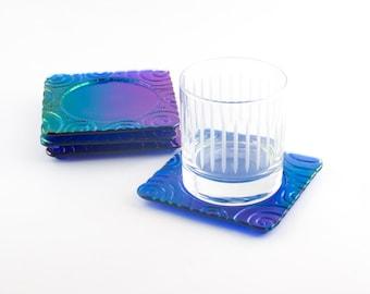 Cobalt Blue Bar Coasters, Iridescent Glass, Imprinted Design, Bar Accessories, Tabletop Decor, Modern Coasters, Cool Gifts for Men