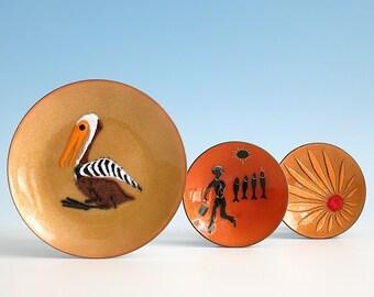 Instant Collection of Vintage Enamel Copper Miniature Plates - 2 de Passillé-Sylvestre Enamel on Copper Plates - Instant Mid Century Orange
