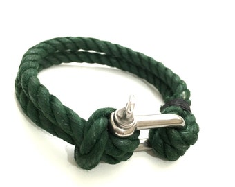Nautical Sailing Bracelet  Stainless steel  Shackle - Paracord Bracelet - Mens Bracelet - Mens Jewelry - Linen Rope Bracelet - Green