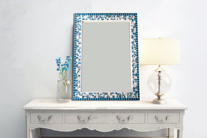 Teal gray white mosaic wall mirror large decorative mirror for White decorative mirror