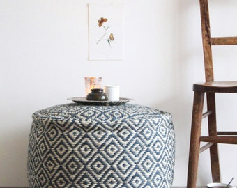 Blue Jute Pouffe - Fair Trade Diamond Weave Jute Pouffe, Pouf, Footstool Seat, Side Table, Coffee Table