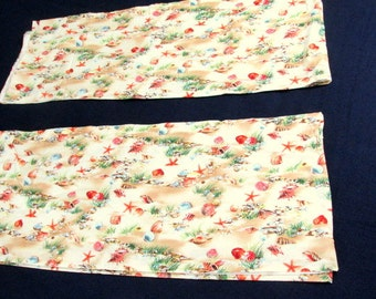 """Vintage By-The-Sea Valance Curtains Two  16""""l x 85""""w Lined Cotton"""