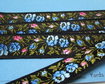 "SALE Vintage Black Embroidered Silk French Ribbon Flowers SWEET 111"" x 1.25"" or 3.08 yards NOS"