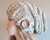 Slouchy Beanie Slouch Hats Oversized Baggy Beret Button womens fall winter accessory Oatmeal Grey Chunky Hand Made Knit