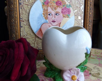 Vintage 1940's unsigned Vallona Starr California Pottery White Heart Pink and Blue Flower & GREENERY Vase Collectible, Retro, Mid-Century