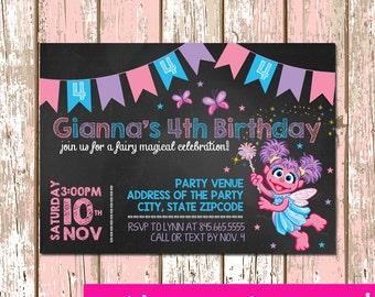 Sesame Street Abby Cadabby Fairy Invitation Digital File 4X6 or 5X7