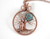 Dark Full Moon & Cat Tree-Of-Life Pendant Copper Wire Wrapped Pendant Wired Copper Jewelry Tree-Of-Life Cat Pendant Rustic Necklace Unisex