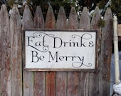 Eat Drink & Be Merry Rustic Distressed Farmhouse Style Framed Wood Sign 13.5x24