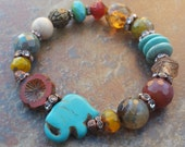 My Lucky Elephant / Lucky/ Stretch Bracelet / Elephant Jewelry/ Good Luck Charm