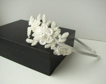 Bridal lace headband Wedding hair piece Ivory beaded lace hair band