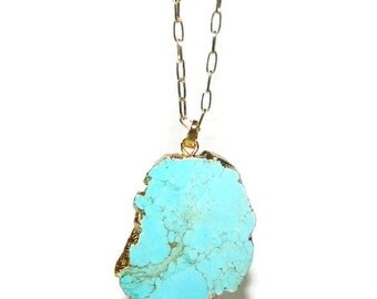 Turquoise Pendant Chain Necklace, 30 Inch Long Chain