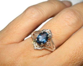Blue Topaz Ring, Low Profile Ring, Middle Finger Ring, December Birthstone