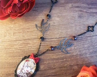 Handcrafted  pin up Harley Quinn necklace // Fanart Gotham Girls