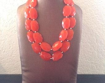 Bright Orange Chunky Statement Necklace - Electric Orange Big beaded jewelry - Double Strand Statement Necklace