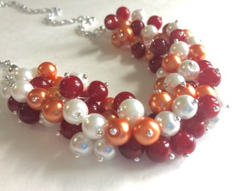 Maroon & Orange Cluster Necklace - Virginia Tech Inspired Hokies Jewelry