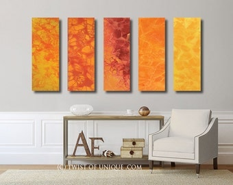 Abstract sunset painting / CUSTOM 5 painting set / 36x12 / Abstract Watercolor  painting / Red, Orange, yellow, sunset, sunrise
