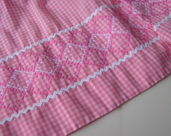 SALE . Vintage Pink Gingham Apron with Cross Stitch Embroidery & RickRack