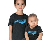 LUUUKE! Bright BLUE Series North Carolina NC Tri-blend Black T-shirt - Boy & Girl Infant, Toddler, Kids, Youth T-Shirt