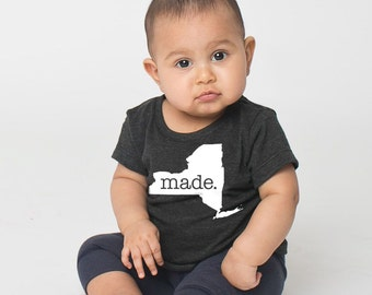 New York 'Roots' or 'Made' Tri Blend Baby T-Shirt - Infant Boy and Girl Tee