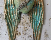 Metal angel wings distressed aqua blue gold w/ embellished rhinestone heart shabby cottage chic wall hanging home decor anita spero design