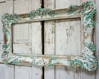 Aqua picture frame wall hanging distressed beachy light turquoise white display shabby cottage chic ornate decor anita spero design