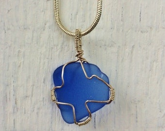 cobalt blue seaglass pendant - genuine rare blue beach glass wrapped with Love in sterling silver wire